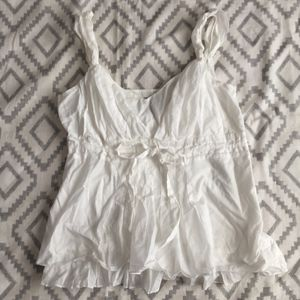 Ann Taylor White Gauzy Cotton Sleeveless Blouse